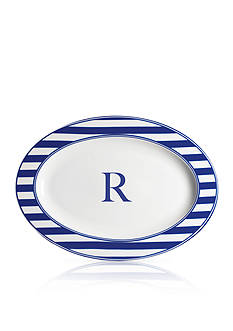 Caskata Beach Towel Stripe Rimmed Oval Platter - Initial R