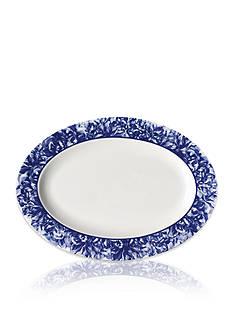 Caskata Peony Blue Rimmed Oval Platter