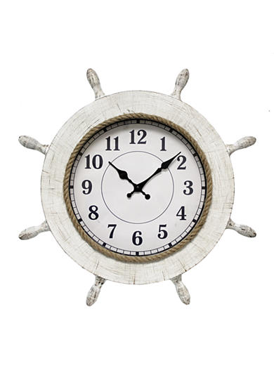 Fetco Home Decor Hyatt Wooden Wall Clock - Distressed White