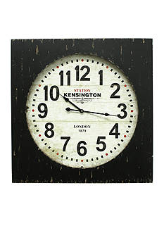 Fetco Home Decor Feather Clock - Distressed Black