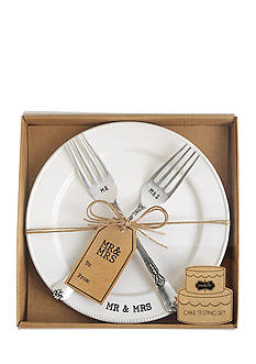 Mud Pie® 3-Piece Mr. and Mrs. Cake Plate and Fork Set