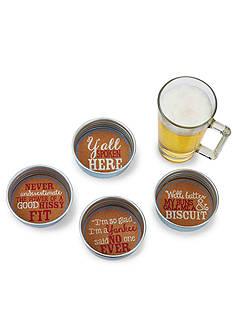 Mud Pie 4-Piece Southern Jar Lid Coaster Set