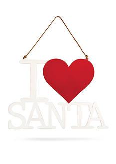 Mud Pie 14.5-in. 'I Love Santa' Hanger Sign