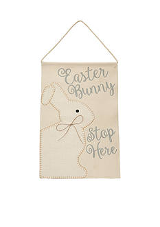 Mud Pie® 19-in. Easter Bunny Stop Here Burlap Hanger