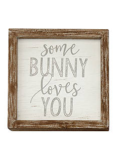 Mud Pie 6-in. x 6-in. Some Bunny Loves You Plaque