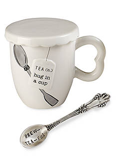 Mud Pie Circa 3-Piece 'Hug In A Mug' Tea Cup, Spoon, and Cover Set