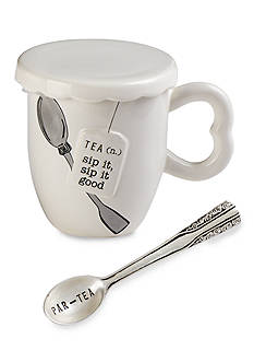Mud Pie Circa 3-Piece 'Sip It Good' Tea Cup, Spoon, and Cover Set