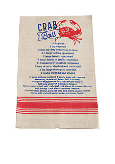 Mud Pie Anchors Away Crab Boil Recipe Towel
