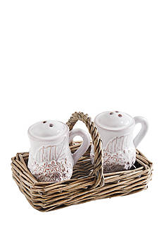 Mud Pie 3-Piece Hydrangea Salt and Pepper Shakers with Holder Set