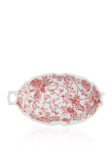 Mud Pie® 17-in. Holly Toile Oval Serving Bowl
