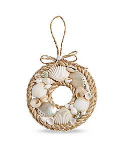 Mud Pie 5-in. Rope & Shell Wreath Ornament