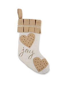 Mud Pie 19-in. 'Joy' Embroidered Burlap Stocking
