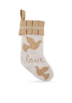 Mud Pie 19-in. 'Love' Embroidered Burlap Stocking