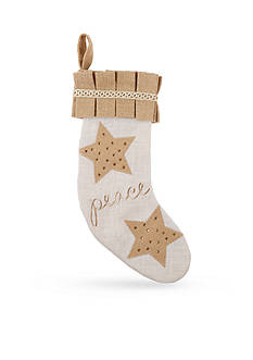 Mud Pie 19-in. 'Peace' Embroidered Burlap Stocking