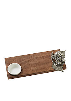 Mud Pie 2-Piece Hydrangea Wood Serving Board and Ramekin Set