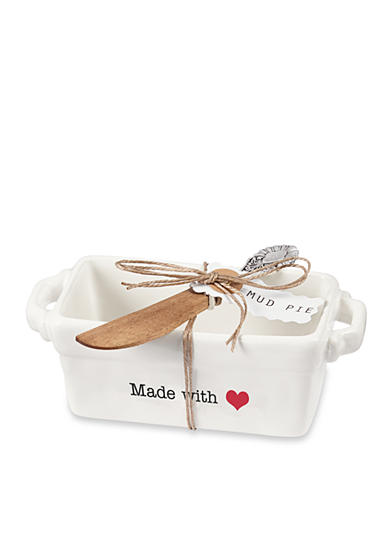 Mud Pie® Circa 2-Piece Made With Love Mini Loaf and Spreader Set