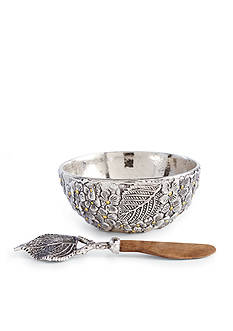 Mud Pie 2-Piece Hydrangea Metal Dip Cup and Spreader Set