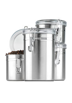 Anchor Hocking Glass Stainless Steel Canister Set