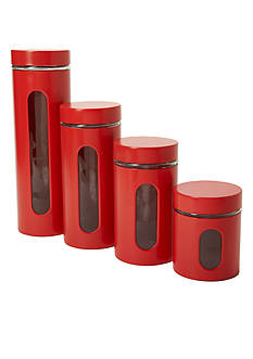 Anchor Hocking Glass 4-Piece Red Palladian Canister Storage Set