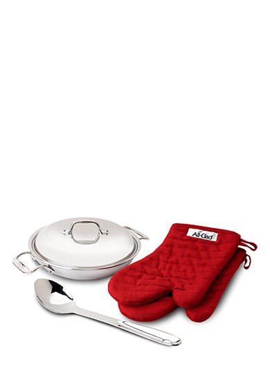 All-Clad 2-qt. Stainless Steel Pan with Lid, Spoon & Mitts