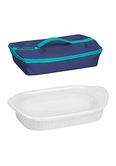 Corningware French White 3-qt. Baking Dish with Lid and Portable Case