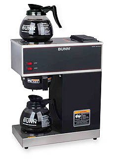 Bunn 12-Cup Pour-Over Commercial Coffee Brewer with Upper and Lower Warmers and Two Glass Decanters VPR