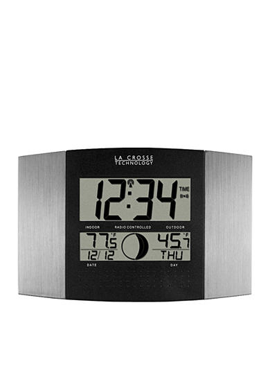 LaCrosse Technology Atomic Digital Wall Clock with Moon Phase and Temperature - Online Only<br>
