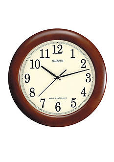 LaCrosse Technology 12-in. Cherry Wood Atomic Analog Clock