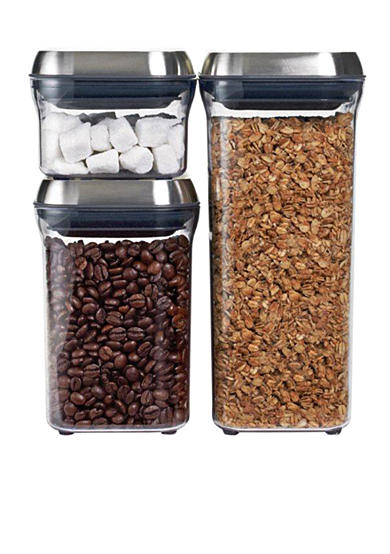Oxo 3-Piece Stainless Steel Pop Container Set