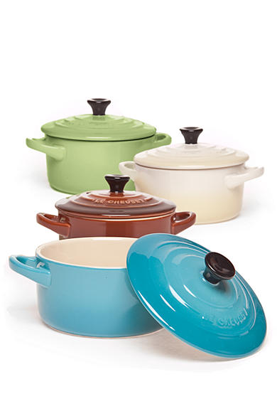 Le Creuset Set of 4 Mini Cocottes Multi Color - Caribbean, Kiwi, Dune, Chestnut