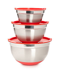 Cooks Tools™ 6-Piece Stainless Steel Non-Slip Mixing Bowls with Lids