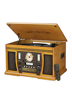 Innovative Technology Victrola Bluetooth Music CenterThe Aviator 7-in-1 Bluetooth Oak Music Center