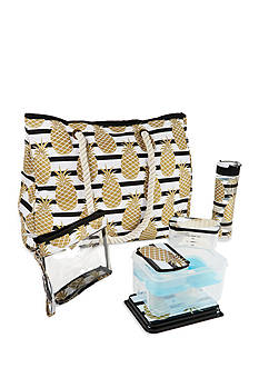 Fit & Fresh West Hampton Insulated Summer Tote with Lunch on the Go Container Set