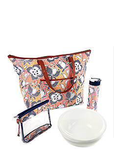Fit & Fresh Marblehead Insulated Summer Tote with Chilled Serving Bowl, 20-oz. Water Bottle and Wristlet