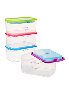 Fit & Fresh Healthy Living 2-Cup Container Kit with Reusable Ice Packs, Set of 4