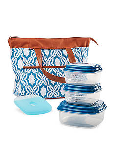 Fit & Fresh Oxford Insulated Lunch Bag Kit with Reusable Container Set