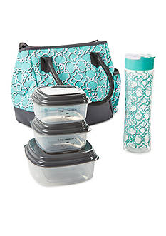 Fit & Fresh McAllen Insulated Lunch Bag Kit with Portion Control Container Set and 20oz Water Bottle