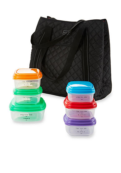 Fit & Fresh Meal Management Quilted Yoga Bag with Portion Control Container Set