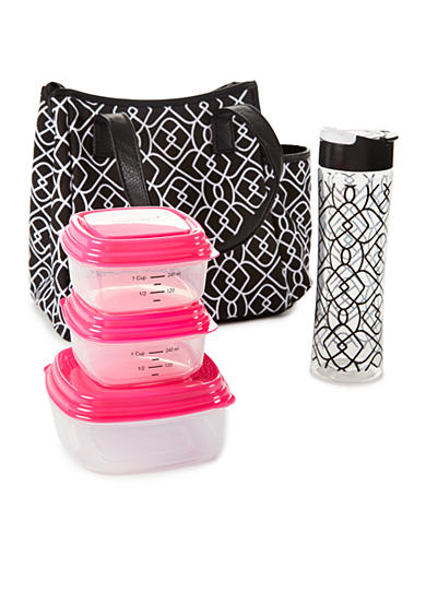 Fit & Fresh Westerly Insulated Lunch Bag Kit with Portion Control Container Set and 20oz Water Bottle