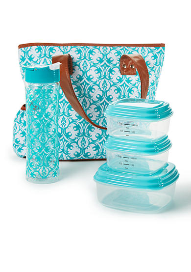 Fit & Fresh Greenville Insulated Lunch Bag Kit with Portion Control Container Set and 20oz Water Bottle