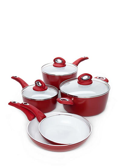 Bialetti Aeternum Ceramic Red 8-Piece Cookware Set