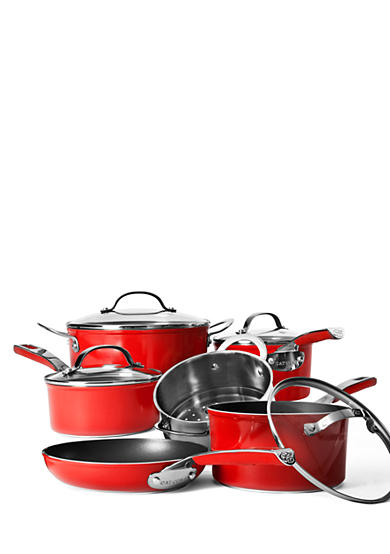 Cat Cora Red Nonstick 10-Piece Cookware Set