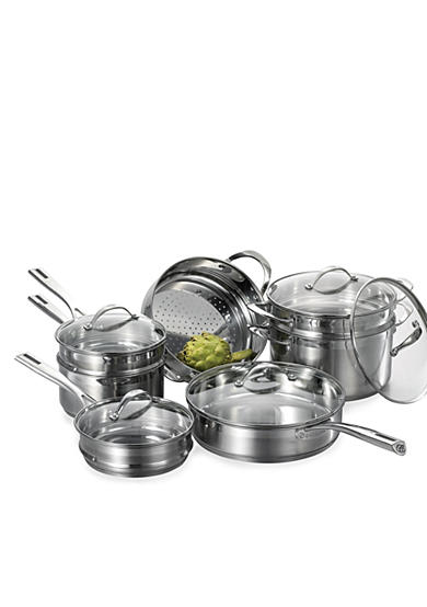 Cat Cora Stackable Stainless Steel 12-Piece Cookware Set - Online Only