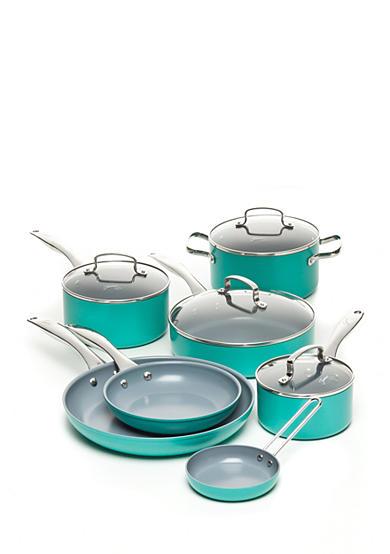 Fiesta 174 Turquoise Nonstick Aluminum 11 Piece Cookware Set