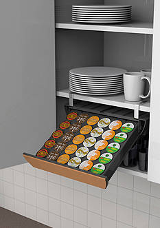 MindReader Under/Inside Cupboard Coffee Pod Drawer with Cork Front, 30 Capacity - Online Only