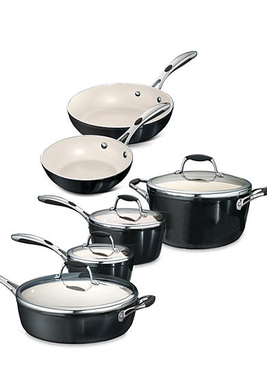 Tramontina Gourmet 10-Piece Metallic Black Ceramica 01 Deluxe Cookware Set - Online Only