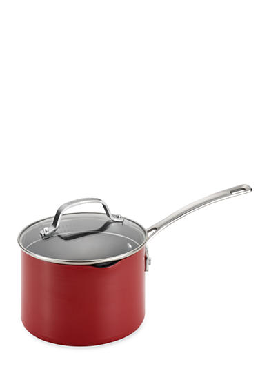 Circulon Genesis Aluminum Nonstick 3-qt. Covered Straining Saucepan, Red - Online Only