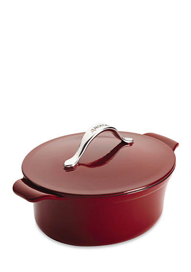 Anolon Vesta Cast Iron Cookware 4-qt. Oval Covered Casserole, Paprika Red - Online Only