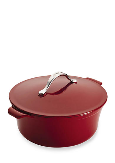 Anolon Vesta Cast Iron Cookware 7-qt. Round Covered Casserole, Paprika Red - Online Only