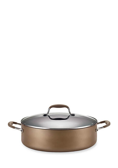 Anolon Bronze Hard Anodized Aluminum Nonstick 7.5-Quart Covered Wide Stockpot